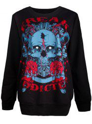 Halloween Loose Skull 3D Print Sweatshirt - BLACK L