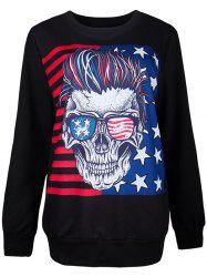 Halloween Flag and 3D Skull Print Sweatshirt