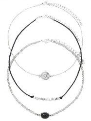 Alloy Oval Engraved Sun Beaded Chokers -