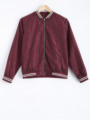 Striped Hem Zip Design Bomber Jacket - WINE RED
