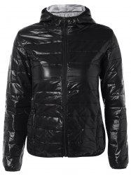 Topstitching Hooded Quilted Winter Jacket - BLACK XL