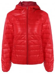Topstitching Hooded Quilted Winter Jacket -