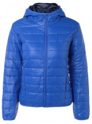 Topstitching Hooded Quilted Winter Jacket - BLUE