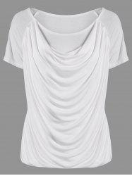 Ruched Plain Ruffled T-Shirt - WHITE L