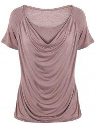 Stylish Pure Color Ruffled T-Shirt For Women