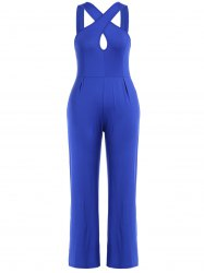 Criss Cross Hollow Out Wide Leg Jumpsuit -
