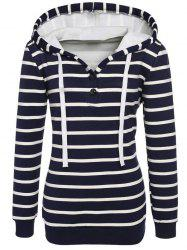 Long Sleeves Striped Buttoned Hoodie - BLACK 2XL