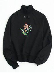Flower Embroidered Loose Sweatshirt - BLACK ONE SIZE