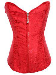 Jacquard Lace-Up Slimming Corset - RED S