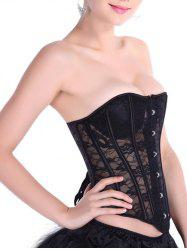 See-Through Lace-Up Waist Slimming Corset