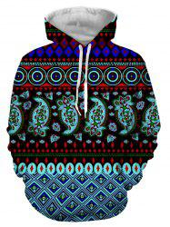 Hooded 3D Ethnic Style Geometric Print Long Sleeve Hoodie - COLORMIX 3XL