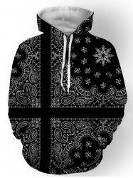 Hooded Paisley and Floral Printed Long Sleeve Hoodie