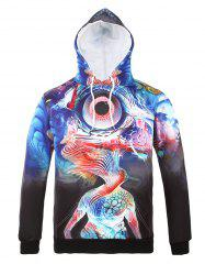Hooded 3D Abstract Eye Print Long Sleeve Hoodie - COLORMIX 3XL