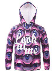 Hooded 3D Eyes and Letter Print Long Sleeve Hoodie