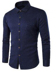 Turn-down Collar Fleece Lined Polka Dot Shirt -
