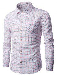 Tournez-down Bouton Collar Up Grille Imprimer shirt -