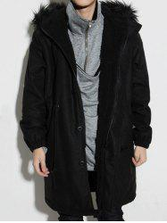 Drawstring Elastic Cuffs Fur Hooded Sherpa Coat