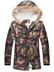Camo Zippered Drawstring Waist Fur Hooded Sherpa Parkas -