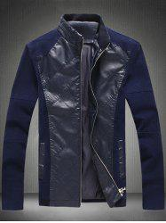 Zip Up Boutons manches Conception Cuir Insert Jacket - Cadetblue M