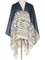 Warm Geometry Pattern Fringed Wrap Pashmina