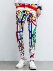 Five-Pocket Zipper Fly Printed Tapered Pants - WHITE 31