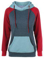 Raglan Sleeve Big Pocket Drawstring Hoodie - GRAY AND RED
