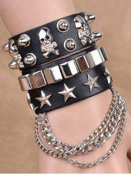 Punk Star Skull Rivet Chains Double Bracelets