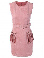 Suede Pocket Design Fringed Stud Embellished Dress -