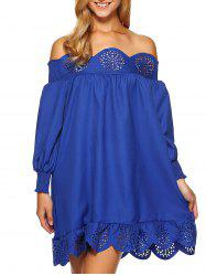Off The Shoulder Bardot Scalloped Shirred Dress