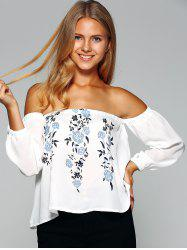 Off The Shoulder Floral Print Chiffon Blouse -