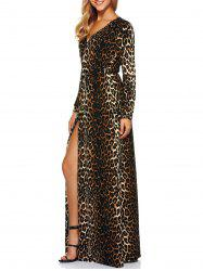 V-Neck Leopard Print High Slit Maxi Evening Dress