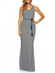 Sleeveless Zig Zag Jersey Floor Length Maxi Dress