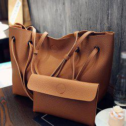 Magnetic Textured Leather Shoulder Bag - BROWN