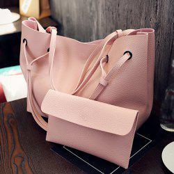 Magnetic Textured Leather Shoulder Bag - PINK