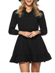 Long Sleeve Elastic Waist Dress -