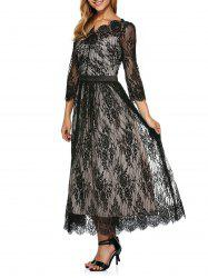 Lace Scalloped Long Evening Dress with Sleeves - BLACK