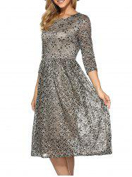 Rhinestone Embroidery Lace Dress - KHAKI 2XL