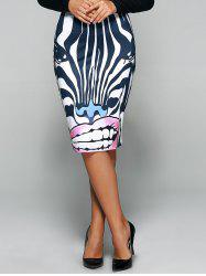 Zebra 3D Print Knee Length Skirt - STRIPE XL