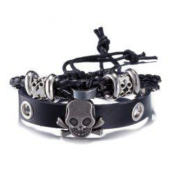 Faux Leather Woven Skull Infinity Bracelet - BLACK
