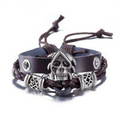 Faux Leather Woven Devil Skull Bracelet - BROWN