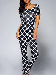 Short Sleeve Print One-Piece Jumpsuit - BLACK