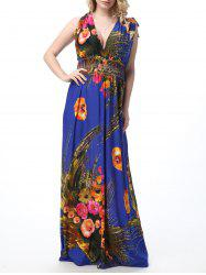 Floral Print Empire Waist Floor Length Boho Dress - SAPPHIRE BLUE