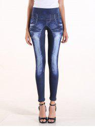 Fake Bleach Wash Jeans High Waisted Pants - DENIM BLUE
