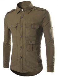 Turn-Down Collar Multi-Pocket Epaulet Design Long Sleeve Shirt - ARMY GREEN