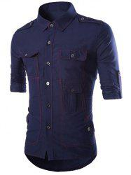 Turn-Down Collar Multi-Pocket Epaulet Design Long Sleeve Shirt - CADETBLUE