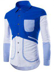 Color Block Splicing Design Pocket Long Sleeve Shirt - SAPPHIRE BLUE 2XL