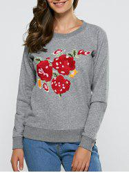 Floral Embroidered Casual Sweatshirt - GRAY XL