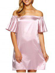Off Shoulder Flounce Mini Satin Cocktail Dress - PINK
