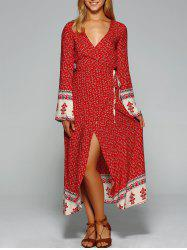 Maxi Bell Sleeve Floral Wrap Dress - RED