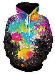 Paint Splatter Print Long Sleeve Pullover Hoodie - BLACK